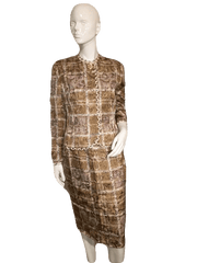 Anne Crimmins for UMI Collections Gold and Tan Squares Design Set with Skirt and Jacket Size 6 (SKU 000152)