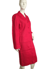 Ellen Tracy Red 100% Silk Skirt and Jacket Suit Set Size 8 (SKU 000152)