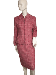 Etcetera Red Tweed Jacket and Skirt with Fringe Edges Size 8 (SKU 000152)