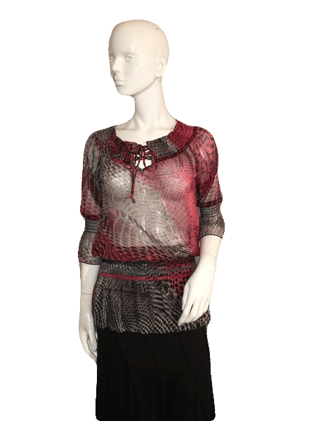 Atmosphere Sheer Red and Black Long Sleeve Top Size S (SKU 000128)