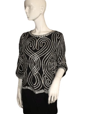 Lauren Michelle Black and White and Silver Swirl Top Size L SKU 000128