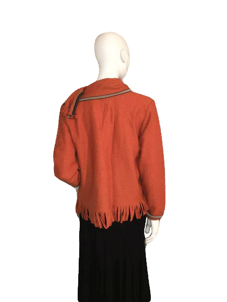 Hearts of Palm 100% Wool Orange Jacket with Large Buttons and Attached Matching Scarf Size S SKU 000124