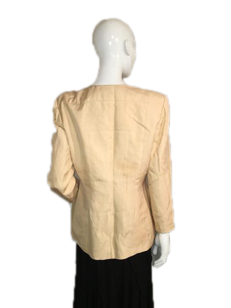 Gillian Suits 100% Silk Pastel Yellow Long Sleeve Jacket and Matching Skirt Size 8 SKU 000124