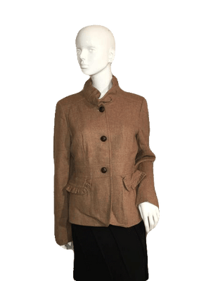 J.Crew Brown Long Sleeve Jacket with Large Black Buttons Size 12 SKU 000124