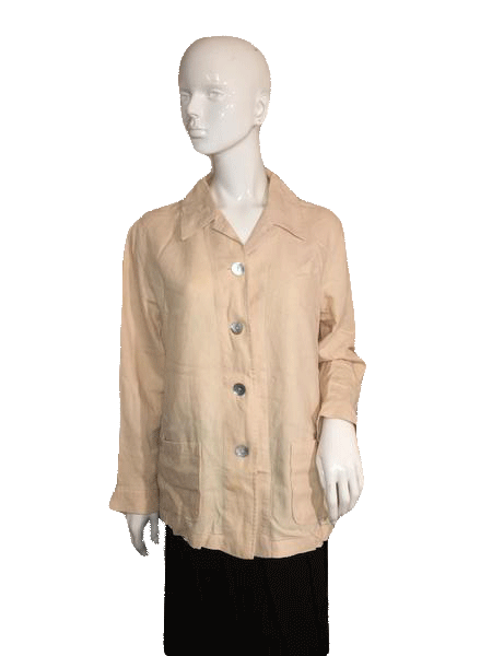Talbots Long Sleeve Tan Top with Large Buttons Front Closure Size S SKU 000124