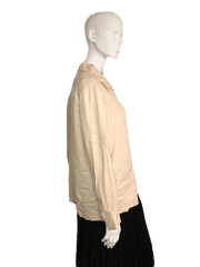 Talbots Long Sleeve Tan Top with Large Buttons Front Closure Size S (SKU 000124)