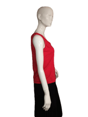 Talbots Red Sleeveless Top with Round Neck Line Size S (SKU 000137)