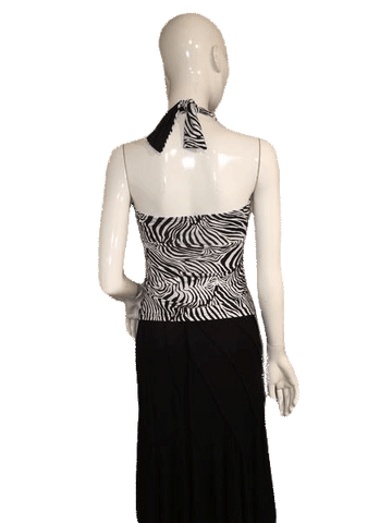 Black and White Stripe Zebra Halter Top Size M (SKU 000137)