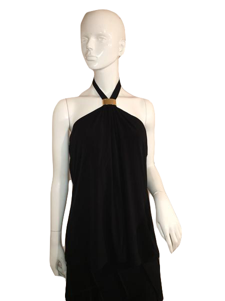 Calvin Klein Black Halter Top with Metal Clip At Neckline Size XL SKU 000137