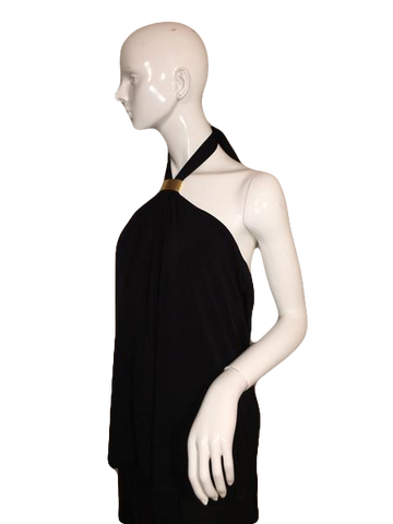 Calvin Klein Black Halter Top with Metal Clip At Neckline Size XL (SKU 000137)
