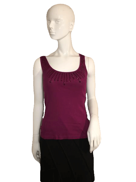Ann Taylor Loft Purple Sleeveless Tank with Sequin Neck Design 100% Cotton Size S (SKU 000137)