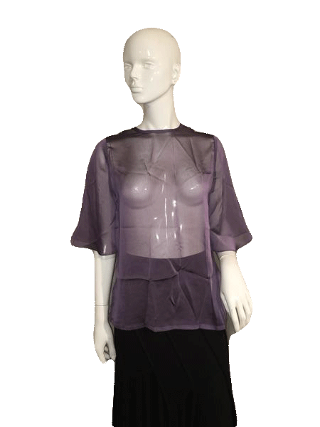 Designers on a Dime Short Sleeve Purple Sheer Top SKU 000137