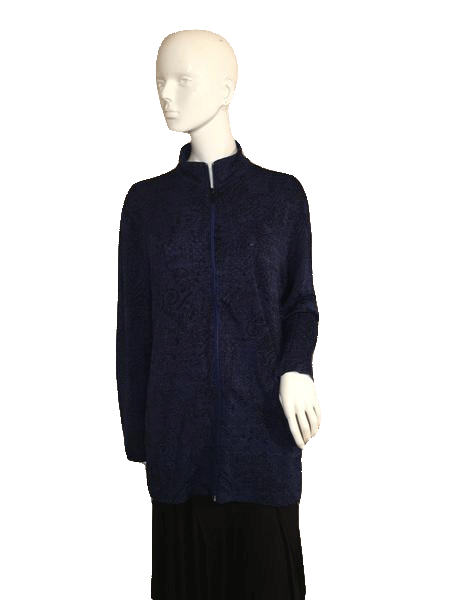 Travelers Long Sleeve Zipper Front Closure Blue and Black Top Size 3 (SKU 000137)