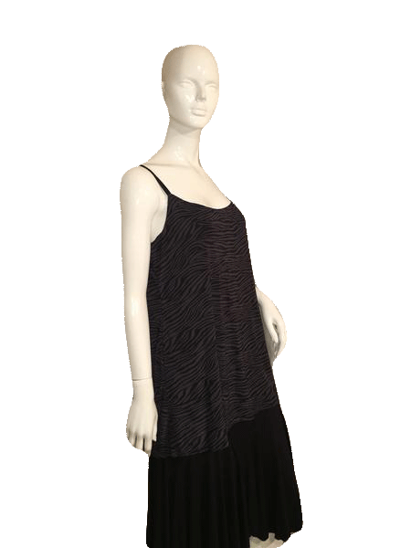 George Black and Gray Striped Zebra Pattern Spaghetti Straps Tank Top Size 16-18 SKU 000137