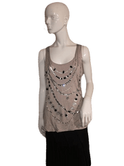 River Island Jeweled Tank with Beautiful Silver, White and Black Jewels Size 18 (SKU 000137)