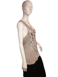 River Island Jeweled Tank with Beautiful Silver, White and Black Jewels Size 18 SKU 000137
