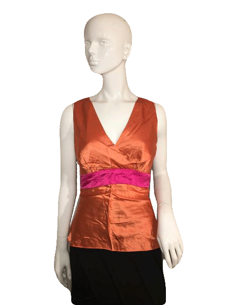 Designers on a Dime 100% Silk Orange Halter Top Size S  (SKU 000137)