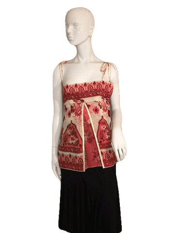 4a12af511b2 Guess Paisley Print Handkerchief Style Halter Top with Spaghetti Straps  Size XS (SKU 000137)