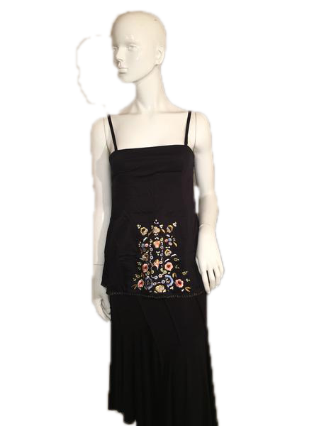 French Connection Black 100% Cotton Embroidered Halter Top with Spaghetti Straps Size 6 SKU 000137