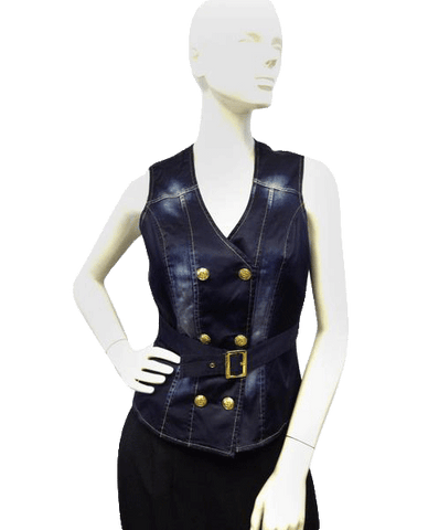 TOP Alberto Makali Navy Blue Denim Dream Sleeveless Size 2 (SKU 000080)