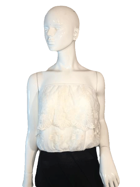 Wet Seal Cream Lace Sexy Crop Strapless Top Size L SKU 000128