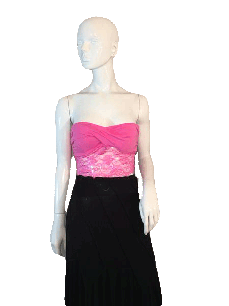 Bozzolo Hot Pink Bikini Lace Halter Crop Top Strapless Size L SKU 000128