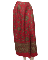 Jones Country Paisley Wrap/Midi Skirt Rust and Olive Green Sz 4 000054