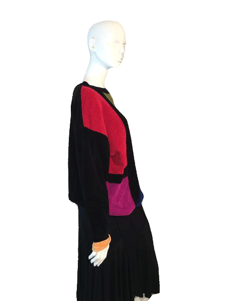 Neiman Marcus Long Sleeve Sweater Black with Color Blocks Size L SKU 000206