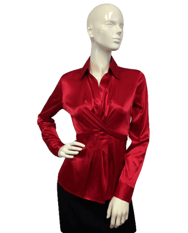 Red Satin top with wrap around tie ( (SKU 000087))