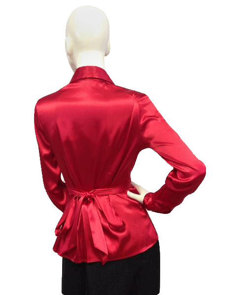 Red Satin top with wrap around tie Size 4 SKU 000087