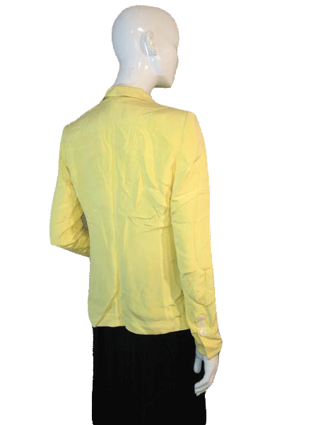 Lafayette 148 100% Silk Long Sleeve Yellow Blazer Size 4 SKU 000155