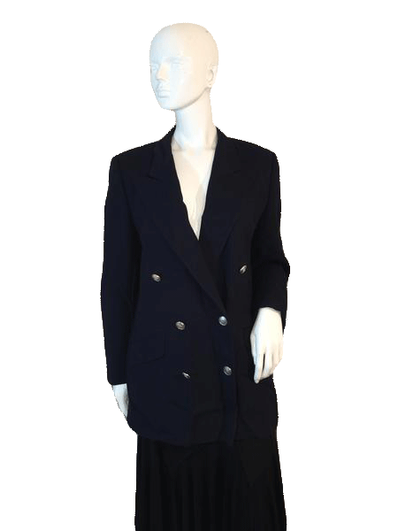 Blazer Long Sleeve Navy Double Breasted Blazer Size 10 (SKU 000155)