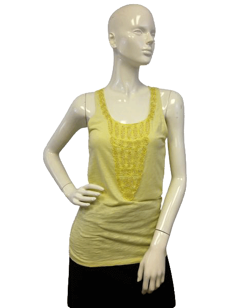 Ann Taylor Yellow Beaded Sleeveless Tank Top Size S (SKU 000071)