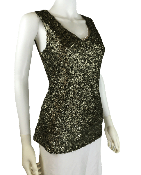 Superiority Olive Sequins Top Sz S (SKU 000010)