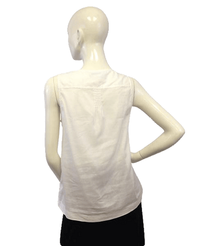 Banana Republic White Sleeveless Unique Top  (SKU 000071)