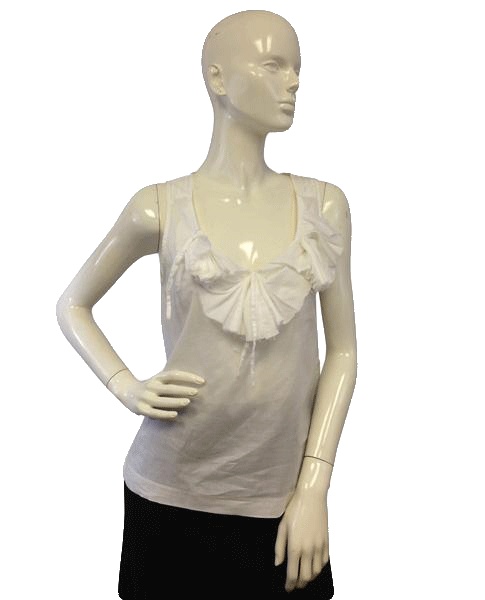 Banana Republic70's  White Sleeveless Unique Top Size XS (SKU 000071)
