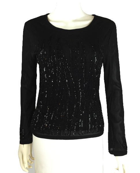 Black Sequin and Mesh Long Sleeve Sequin Top Size M (SKU 000081)