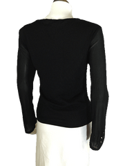 Black Sequin and Mesh Long Sleeve Sequin Top (SKU 000081)