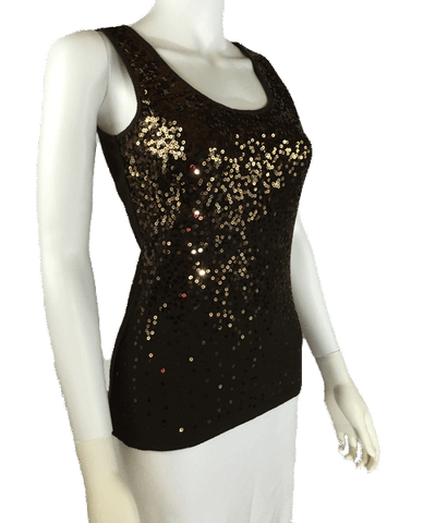 Gleaming Brown Sequin Top Size Small (SKU 000101)