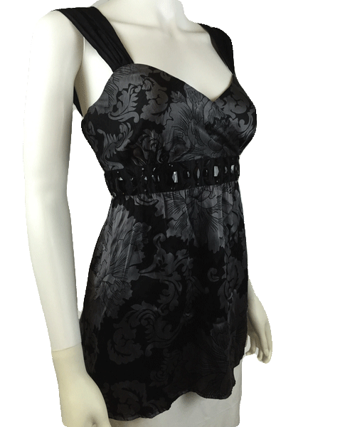Night Breeze Gray and Black Beautiful Embellished Silk Top Size Small (SKU 000024)