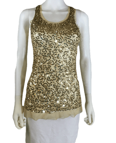 Gold Sequin Top Size Small (SKU 000096)