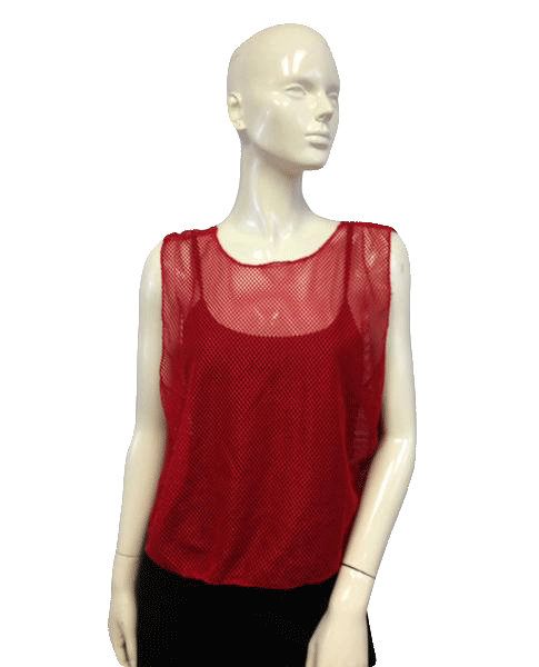 Clay Creek Red Mesh Top on trend One Size Fits All SKU 000024