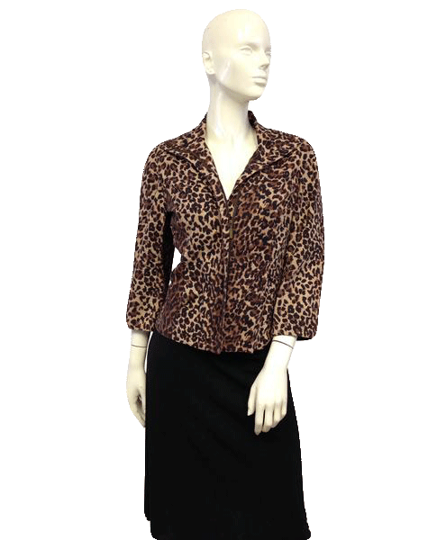 Anne Klein 70's Zip Up Blazing into the Jungle Blazer Size 6 SKU 000027