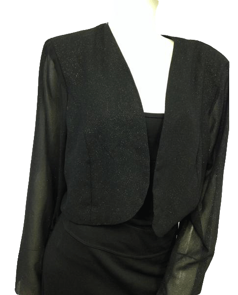 Sparkly Black Crop Bolero with See Through Long Sleeves Size XXL SKU 000096