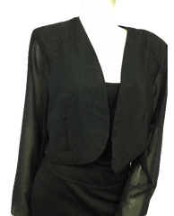 Sparkly Black Crop Bolero with See Through Long Sleeves (SKU 000096)