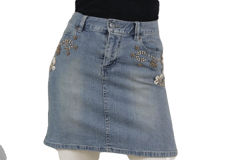SKIRT Denim Beaded Embellished Skirt Size 3/4 (SKU 000102)