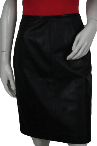 Valerie Stevens Black Leather Skirt Size 8 (SKU 000104)