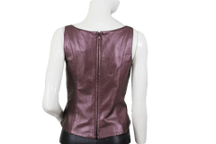 Bronze Metallic Leather Sleeveless Top Size Medium (SKU 000103)