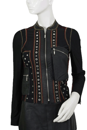 Black Leather Shirt with Rivets and Zippers Size 12 (SKU 000