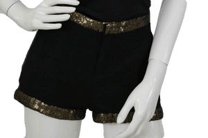 WOW Couture Black Shorts Gold Sequin Trim Size Small SKU 000070